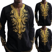 Men Fashion African Printed Vintage T Shirt Long Sleeve Casual Shirt Tops Blouse