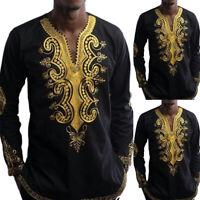 Men Long Sleeve Boho Bohemian T-Shirt African Tribal Hippie Dashiki Casual Shirt