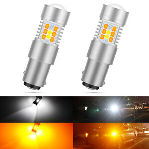 2x BAY15D 1157 LED DRL Switchback Turn Signal Parking Light Bulbs Dual Color UK