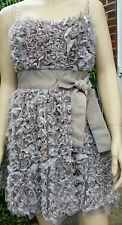 DARLING Grey Ruffle Bow Detail Cocktail Party Dress Size M - Netted Underskirt