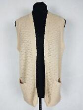 VTG Orlon Acrylic Womens Medium Knit Sweater Vest Beige Open Lightweight Casual