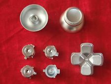 PS4 Controller Modding Set: Thumbsticks Buttons Steuerkreuz Aluminium SILBER