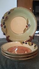 Set of 4 bowls 3 individ 1 pasta serving bowl Oliva Clay Art Olives Terra Cotta