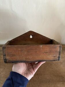 Early Antique Handmade Wooden Hanging Wall Candle Box Square Nails AAFA Patina