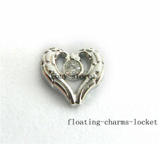10pcs Angel Wing Heart Floating Charms for Glass Locket Free Shipping FC1056