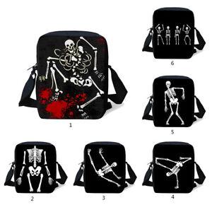 Halloween Skull Shoulder Cross Body Messenger Bag Schoolbag Casual Purse Handbag