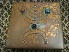 MENORAH Modernist Jewelled Copper Box by YAAD Israel 1960's