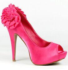 Fuchsia Pink Satin Ruffle Heel Platform Open Toe Pumps 6.5 us Qupid Nydia-121
