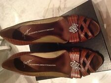 Giuseppe zanotti brown woven Shoes Pumps With Swarovski brooch Sz 40 Us 10