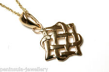 """9ct Gold Celtic Pendant and 18"""" Chain Made in UK Gift Boxed"""