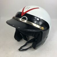 Adult 7 5/8 Bell Tracker Snell Approved DOT Open Face Sun Visor Helmet White Red