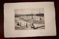 ✒ ca.1930 Pierre-Yves PETIT YVON - PARIS place de la Concorde - signée