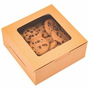 50x Kraft Pastry Bakery Box with Window for Cookies Cupcakes Donuts Muffins
