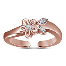 14K Rose Gold Over Women Round Diamond Simple Flower Adjustable Fashion Toe Ring