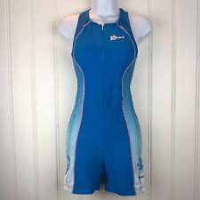 Louis Garneau Triathlon Suit Zip Blue Pink Skinsuit Medium Cycling Hibiscus