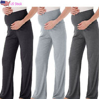 Women Mom Maternity Casual Straight Lounge Pants Stretch Pregnancy Long Trousers
