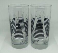 Vintage Lennique Bar Drinking Glassware - Retro MCM Sexy Tumblers Glasses x2