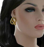 """Knotted Pretzel Gold Tone Pierced Earrings 1"""""""