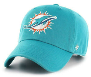 MIAMI DOLPHINS NFL TEAL RELAXED DAD STRAPBACK CAP HAT CLEAN UP NEW! '47 BRAND