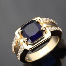 Gold Filled Wedding Fashion Rings Gift Nobby Size 7 Blue Sapphire Mens 18K