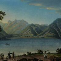 Austria Tyrol See im Achental c.1830-40 gorgeous gem print old hand color