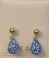 New 14k Solid Gold Crystal Blue Briolette Earrings