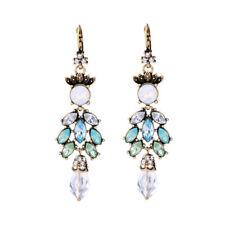 Boucles d`Oreilles Dormeuse Doré Long Chandelier Opale Vert Bleu Retro AA20