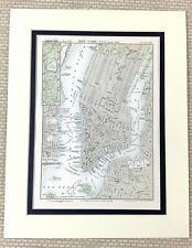 1878 Antique Map of New York City Street Plan Routes Manhattan United States USA