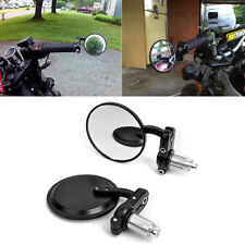 "Black Universal Motorcycle 3"" Round 7/8"" Handle Bar End Rearview Convex Mirrors"