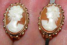 Antique 14K Yellow GOLD CARVED CAMEO Pierced EARRINGS 5.3 grams 12 mm X 19 mm