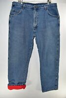 Wrangler Rugged Wear Flannel Lined Blue Jeans Mens Size 40x32 Thermal Meas 39x32