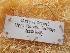 Diamond Wedding Anniversary Personalised Plaque Gift
