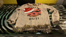 Glamour Kills Christmas Cat Sweater Funky Good Shape Womens Size Large Chill Out
