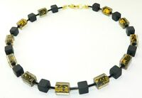 Halskette Würfelkette Kette Cube Würfel schwarz Inlett gold    355Z