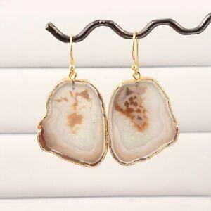 Designer Agate Slice Gemstone Yellow Gold Electroplated Drop Dangle Earrings