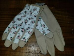IN THE GARDEN ROSE ETCHED SUEDE NOT LEATHER GARDENING GLOVES MOTHER'S DAY $30