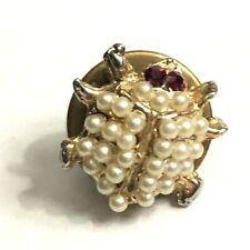 Beetle ladybug pearl red rhinestone eyes vintage lapel pin