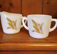 Vintage Fire King White Milk Glass Wheat Pattern Creamer And Sugar Bowl