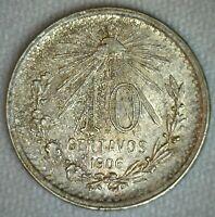 1906 Mexico ESTADOS UNIDOS MEXICANOS 10 Centavos Silver Coin Uncirculated