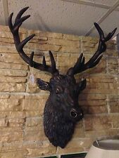 Large Wall Mounted Stags Head - Antique Bronze Effect Stag Sculpture