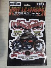 1 Sheet Transparent BIKER Decals by Hot Leathers OL' BIKES & WHISKEY