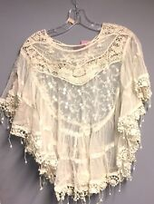 Lace  sheer poncho top for women