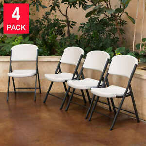 Lifetime Folding Chairs, White or Beige, 4-pack