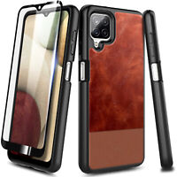 For Samsung Galaxy A12 Case, Shockproof Leather Cover + Tempered Glass Protector