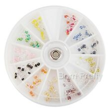 12 Colors Silver Dangle Rhinestone Studs Crafts Charms 3D Nail Art Decoration