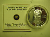2011 Proof $15 Continuity Crown-Prince Henry (Harry) Wales UHR Canada COIN&COA O
