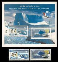 India 2009 MNH SS + 2V, Polar Region, Birds, Penguins, Bear, Glaciers -Q4