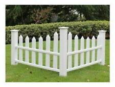 Yardworks White Vinyl Accent Corner Picket Fence outdoor yard garden decor