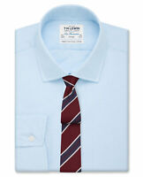 T.M.Lewin Mens Fitted Light Blue End-on-End Button Cuff Shirt