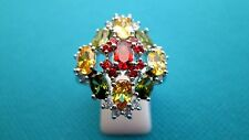 925 Sterling Silver Ring With Garnet, Citrine, Peridot Size U, US 10 (rg1557)